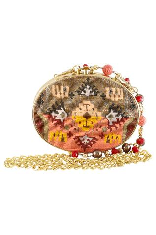 Glass Beads Embroidered Oval Clutch