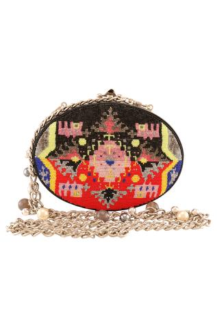 Beads Embroidered Oval Clutch