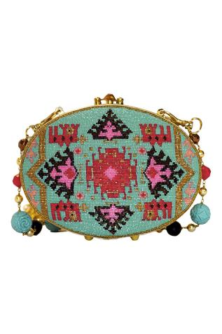 Beads Embroidered Clutch Cum Sling bag