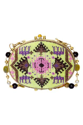Oval Japanese Glass Beads Embroidered Clutch
