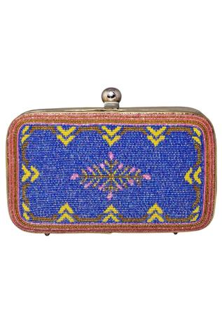 Glass Beads Embroidered  Rectangular Clutch