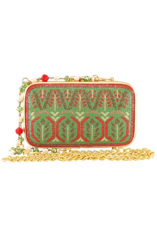 Metal Clasp Glass Beads Embroidered  Rectangular Clutch