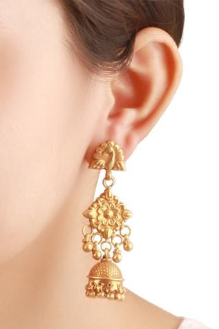 Textured metal jhumkis with peacock head