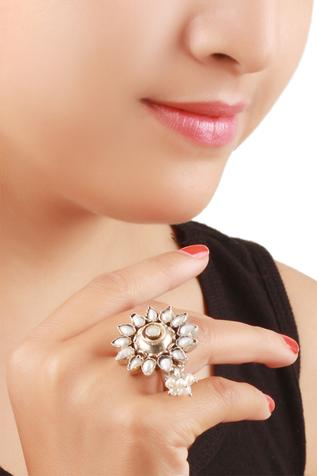Flower & Pearl Handcrafted Finger Ring