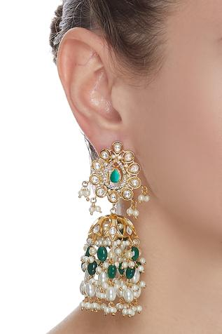 Stone Drop Jhumka Earrings