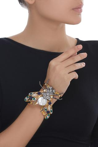 Insect motif open cuff