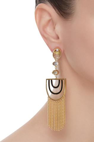 Semi circle tassel earrings