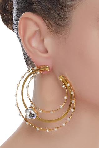 Bead & crystal hoops