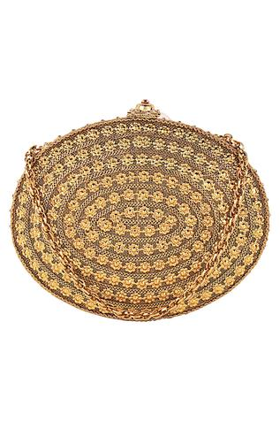 3D Flower Embellished Oval Clutch