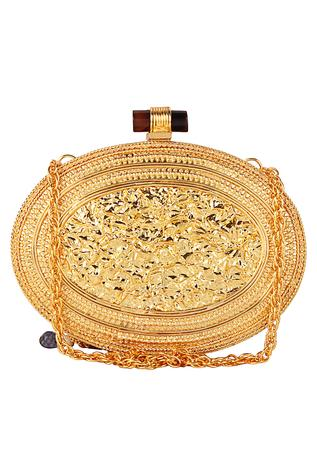 Stone Embellished Oval Clutch