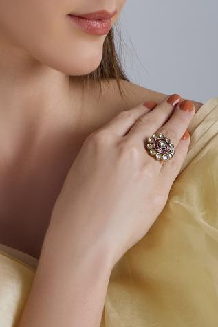 Gewels by Mona Floral Kundan Studded Ring