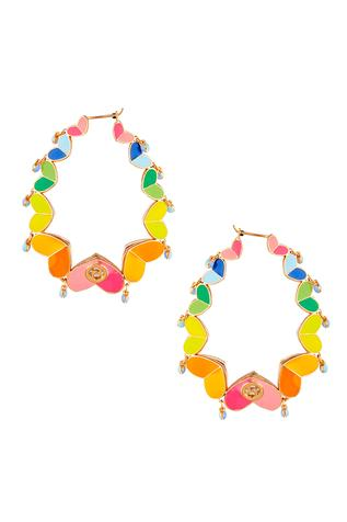 Enamelled Hoop Earrings