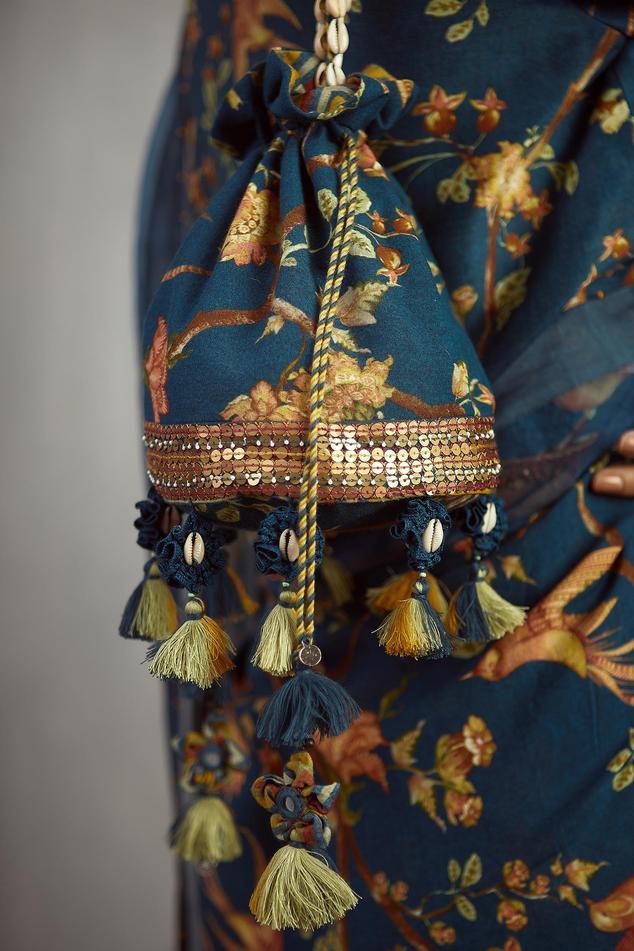 Chanderi Printed Potli Bag