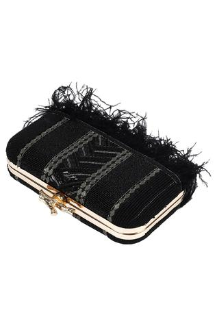 Embellished Fringe Box Clutch