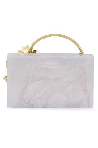 Floral Embellished Box Clutch