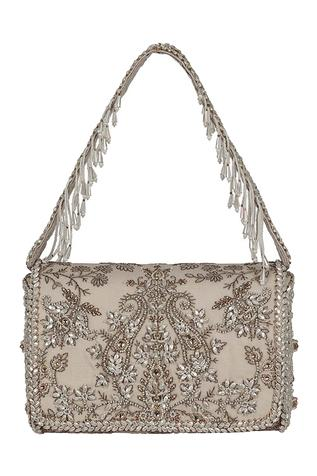 Siah Floral Kundan Embellished Flapover Clutch