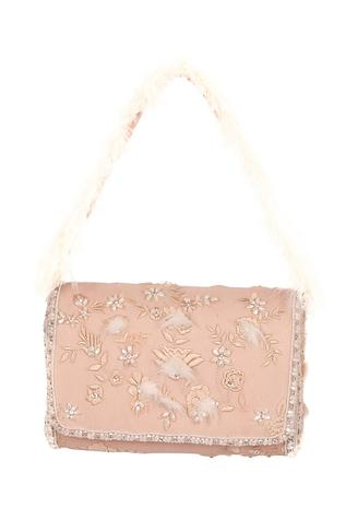 Eira Bead Embellished Flapover Clutch