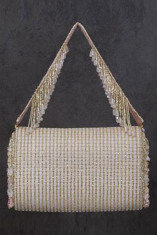 Opal Crystal Embellished Flapover Clutch