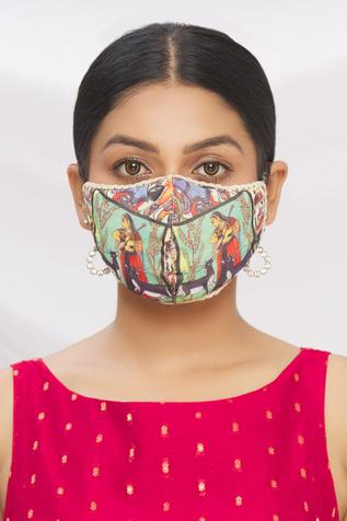 Madhubani Print Face Mask (Single Pc)