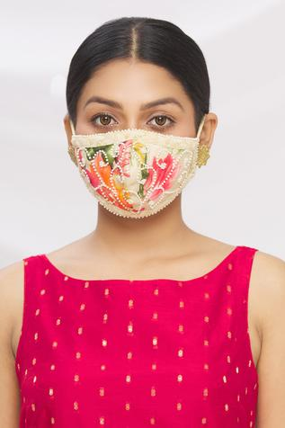 Chikankari Embroidered Potli Bag with Face Mask