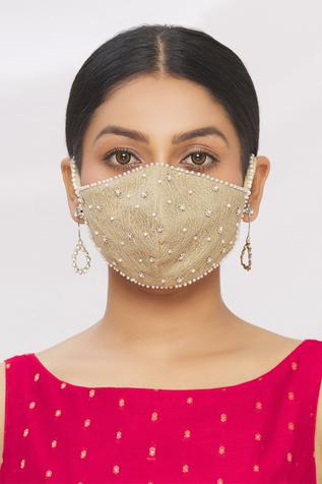 Velvet Embroidered Potli Bag with Face Mask