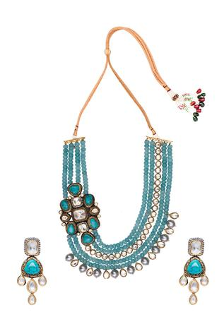 Kundan Polki Layered Bead Necklace Set