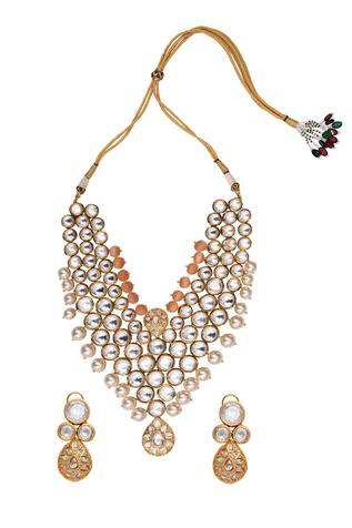 Noor Kundan Polki Pendant Necklace Set