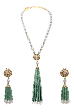 Kundan Polki Bead Tassel Necklace Set