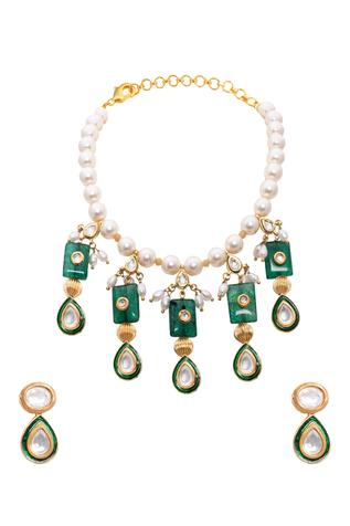 Kundan Polki Bead Drop Necklace Set