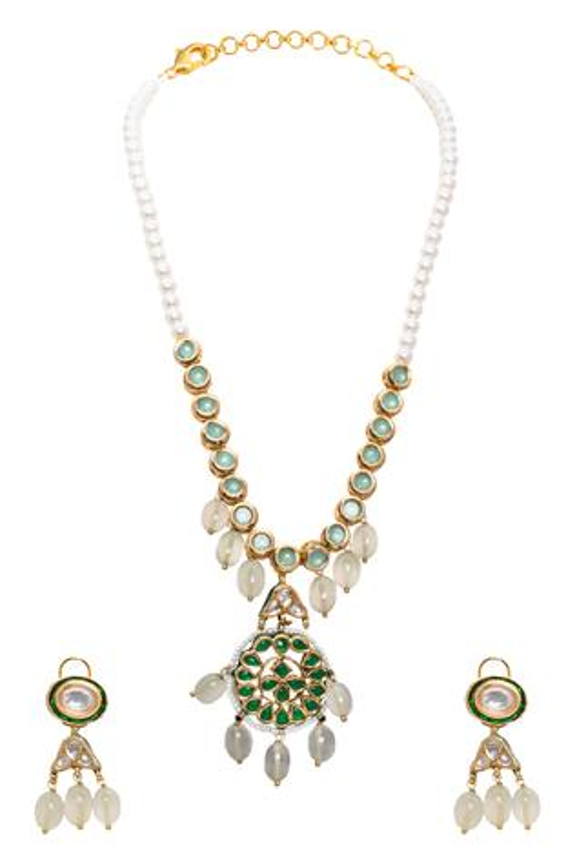 Kundan Polki Pendant Necklace Set