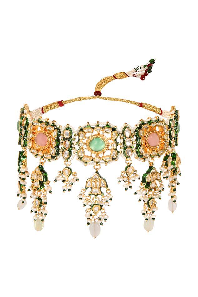Zeenat Kundan Meenakari Floral Choker Set