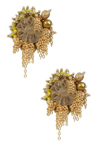 Bead Floral Chain Studs