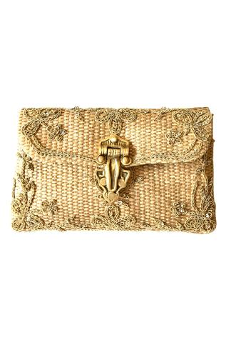 Amelie Embroidered Flap Clutch