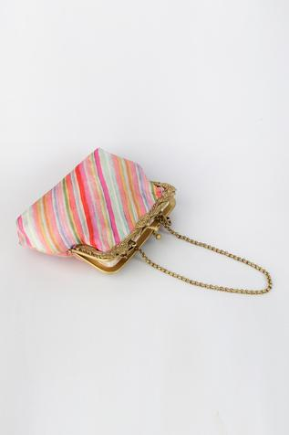 Striped Clutch with Sling