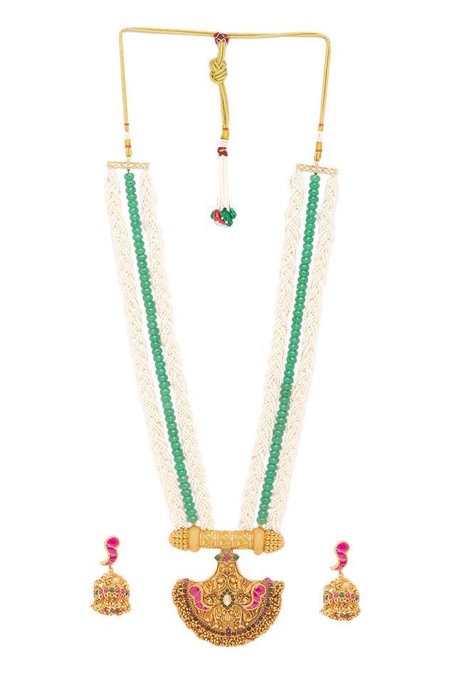 Bead Long Pendant Necklace Set