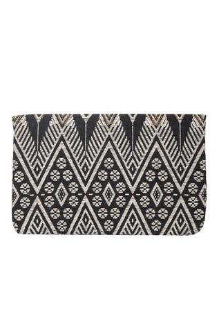 Jacquard Flap Clutch with Sling