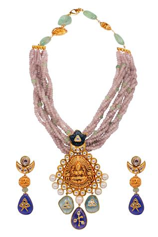 Joules by Radhika  Temple Pendant Necklace Set