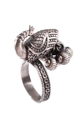 Noor Handcrafted Oxidized Peacock Ring