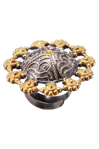 Noor Handcrafted Oxidized Floral Ring