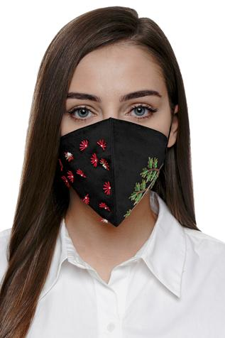 Floral Embroidered Mask (Single Pc)