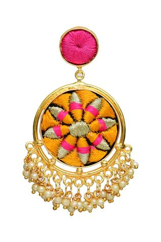 Silk Hand Embroidered Circular Danglers