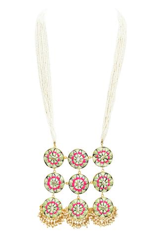 Bauble Bazaar Silk Hand Embroidered Long Pendant Necklace