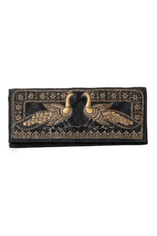 Embroidered Flapover Clutch