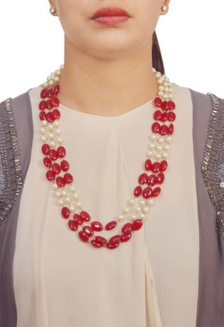 Deep pink stone & pearl necklace