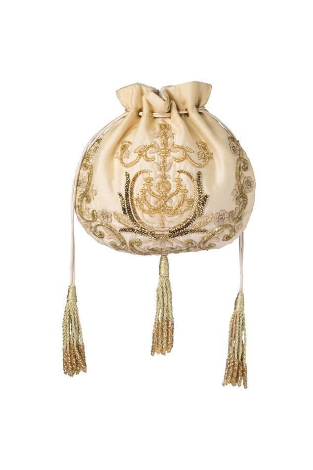 Champagne embroidered potli bag