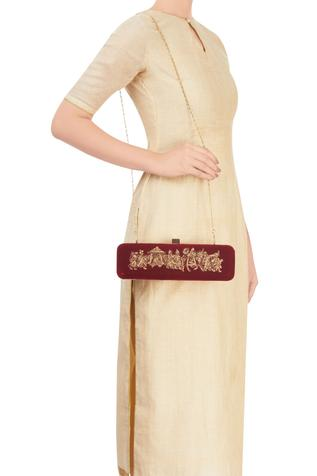 Maroon rectangular clutch with zardozi