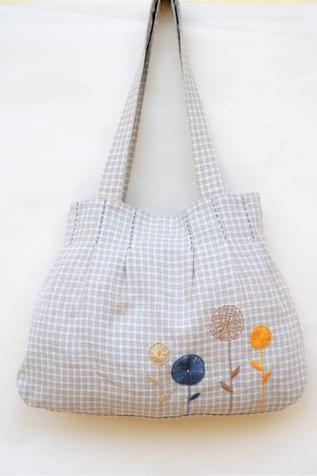 Linen Checkered Tote Bag