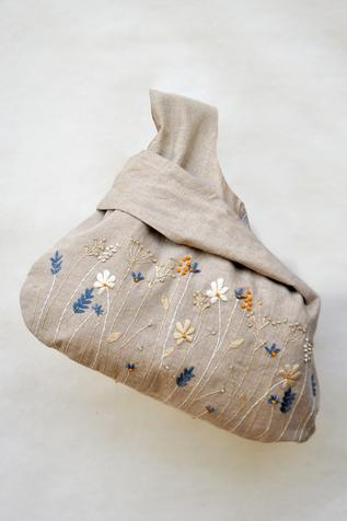 Linen Floral Embroidered Tote Bag