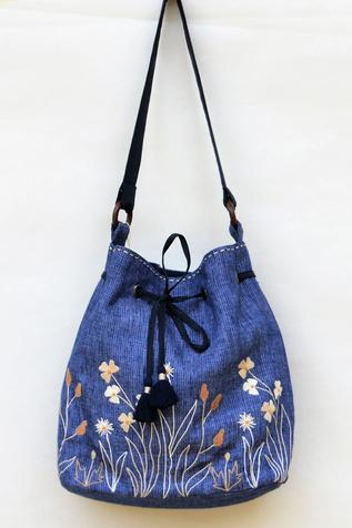 Linen Floral Embroidered Bucket Bag