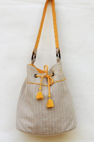 Linen Striped Bucket Bag